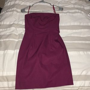 WINE STRAPLESS FITTED DRESS